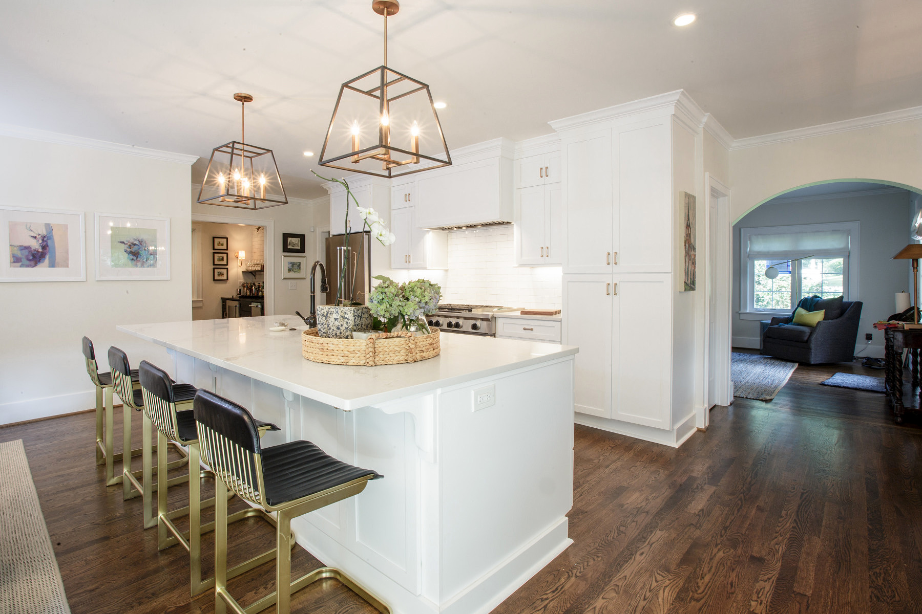 White kitchen with brass accents in Nashville home