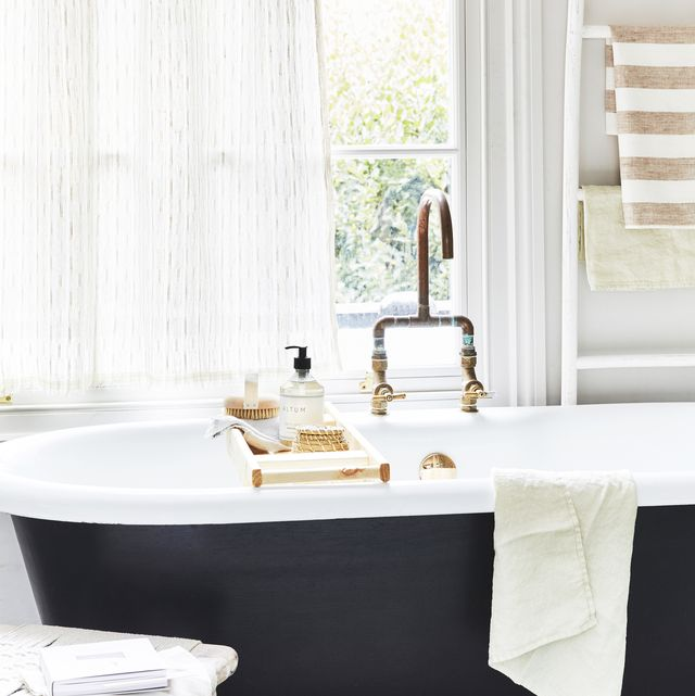 interior decorating advice for summer in the city edo wide width linen sheer in vellum, £12650m, mark alexander 12mm button dormer rod in matt black, from £4710 1220mm classic twist rings inmatt black, £110 each spot pin clips in matt black, £110 each all jim lawrence wooden ladder, £45, barker  stonehouse philippe striped linen towel, from £1899 philippe striped linen hand towels on stool, £1599pair waffle linen hand towels in aloe green, £1899pair all linenme woven rope low stool, £165, cox  cox reclaimed wood bath caddy, £69 bath brush, £12 hand soap, £15 all nordic house fryken box, £7 for three, ikea