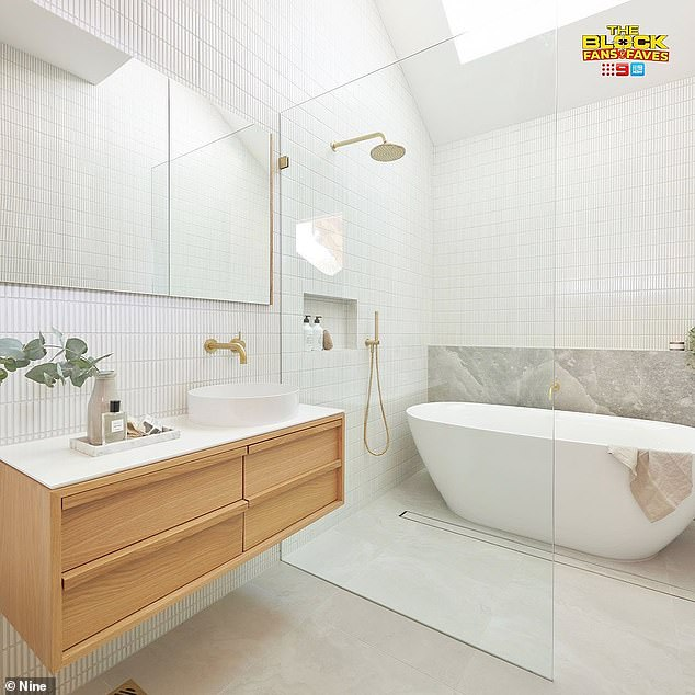 No taps: While most conventional bathrooms feature a shower head and taps relatively close together, Ronnie and Georgia decided to put some distance between them